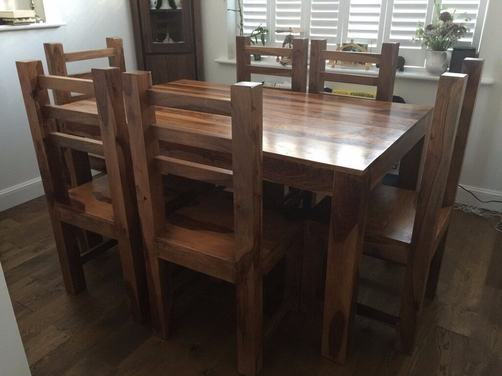 Superb Solid Mango Wood Dining Table 6 Chairs In Kent Gumtree Machost Co Dining Chair Design Ideas Machostcouk