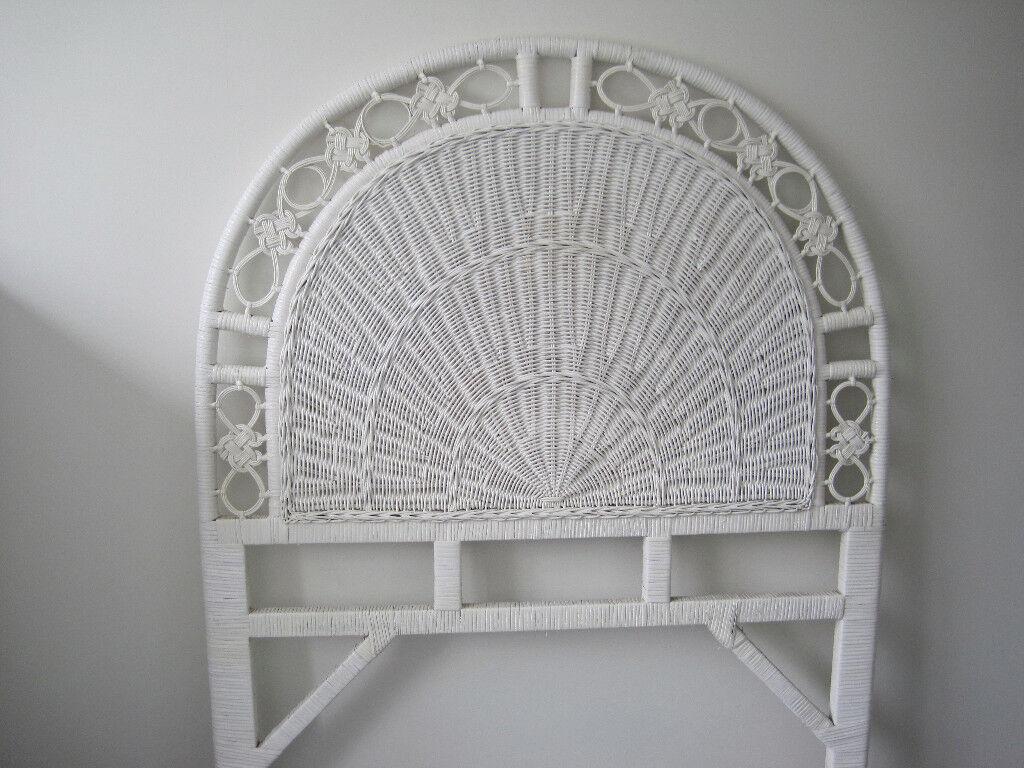 White ratan headboard for single bed