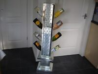 mirrored diamond wine rack holder floating diamonds