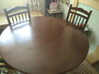 Oak Circular dining table and 4 chairs - ideal for upcycling