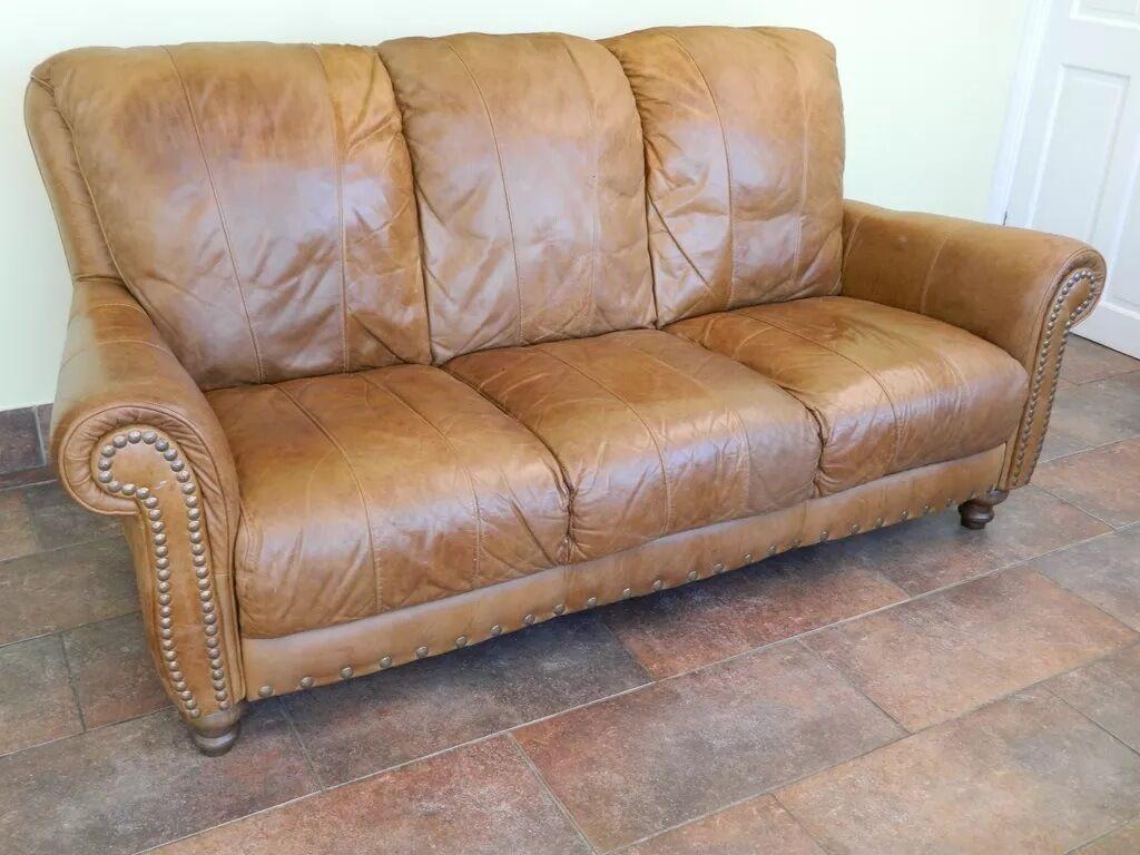 Vintage tan sofa hereo sofa Vintage tan leather sofa