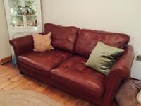 Burgundy Leather DFS Sofa