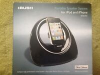Bush portable sound speaker system and radio for iPhone and iPod