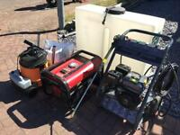 Mobile valeting equipment.. jet wash ,wet vac, generator, tank