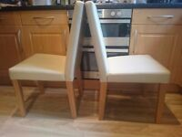 8 x cream faux leather chairs free to collect today