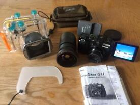 Canon power shot G11 camera +fish eye lens + Canon underwater housing WP-DC34+ extras