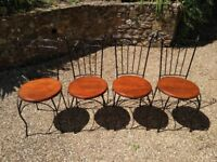 Wrought Iron/Wood Garden Chairs - Set Of 4