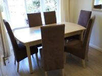 Dining table and six chairs for sale table length 168cm bpy 92 cm as new condition