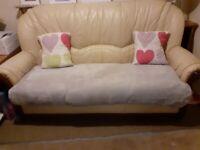 3 seater sofa cream leather old free