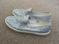 Size 4 sparkly silver trainers