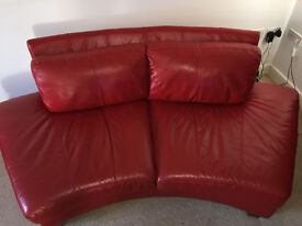 Beautiful red leather sofa suite (4 pcs) RRP £1499
