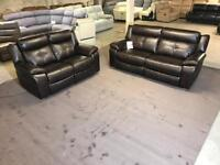 NEW HARVEYS LANGDALE 3 and 2 SEATER ELECTRIC POWER RECLINER SOFA BROWN LEATHAIRE LEATHER THREE TWO 5