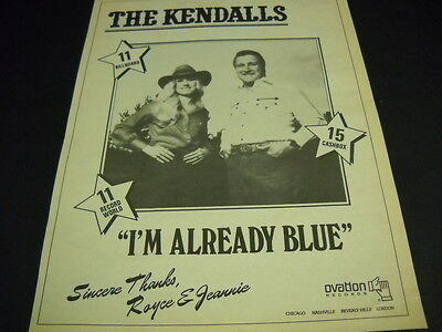 The KENDALLS sing I'M ALREADY BLUE original 1980 PROMO POSTER AD mint condition