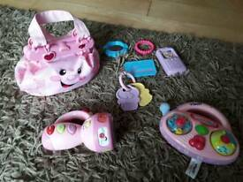 Fisherprice pink handbag and vtech torch