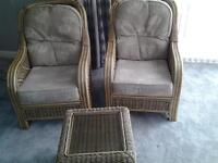 high quality wicker chair pair and table