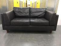 Dark leather 2 seater sofa •free delivery •