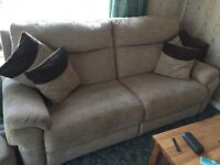 2xLarge 3 seater sofas with poufe these are only 2 years old very good condition moved house no room