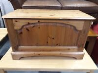 Very solid pine blanket box/toy box 87cm x 44cm x 5cm deep. Delivery can be arranged if required.