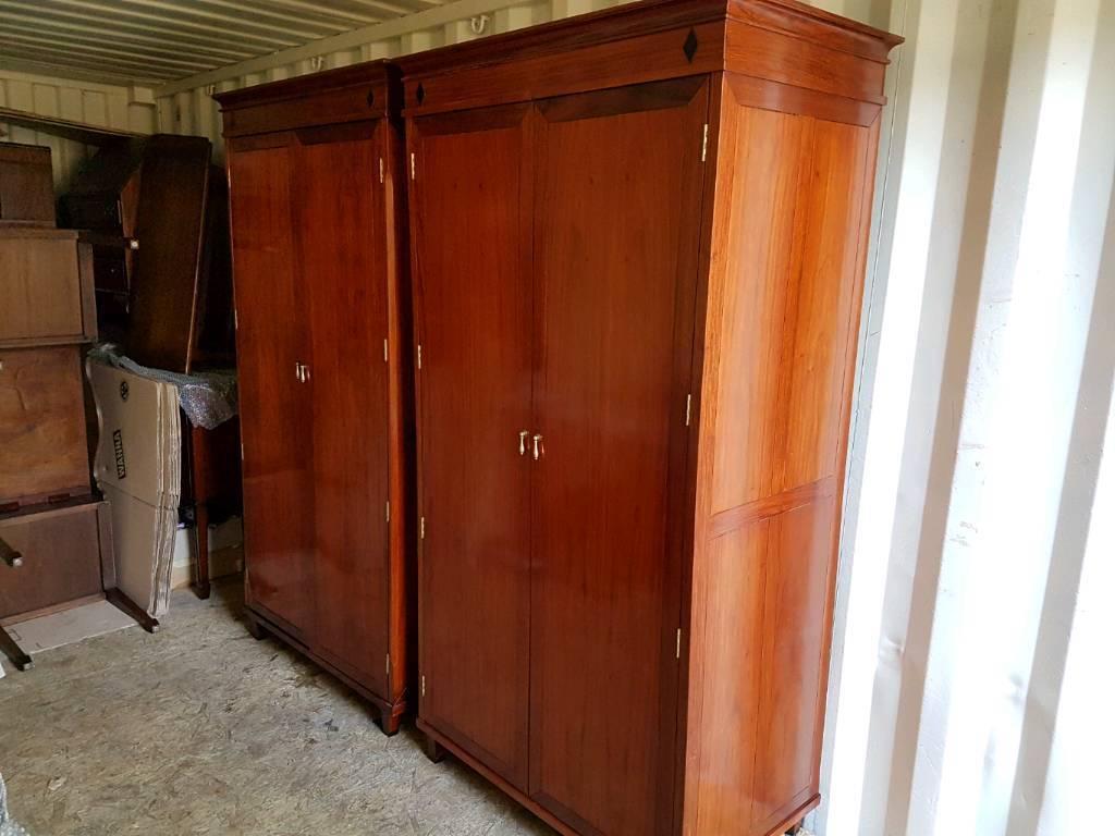 Two Indonesian hardwood wardrobes