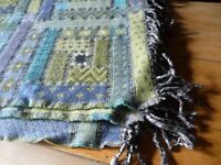 Wool fringed blanket/throw in lovely shades of purple, blue and green, never used