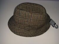 Pure New Wool Checked Classic Country Trilby Hat - unused