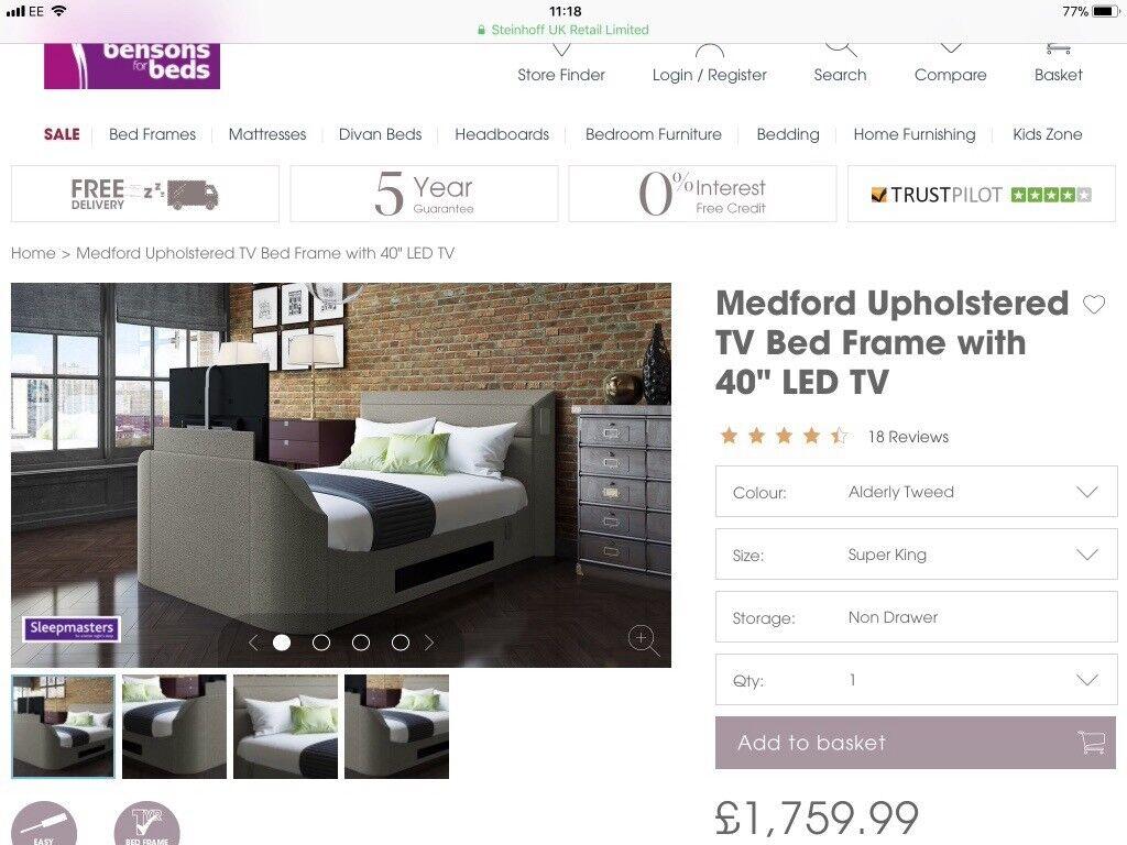 Bensons for beds Medford tv bed super king size sound bar media | in ...