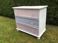 Pink, Purple and White Chest of Three Drawers. Pre-Owned.