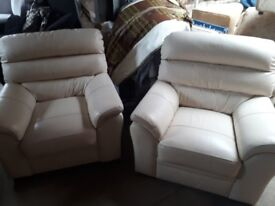 2 cream leather chairs excellent condition £25 each must go