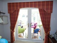French Door Curtains Fully Lined with Pelmet and Running Rail Board & Track