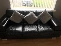 2x large 3 seater leather sofas