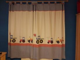 Boys Little Digger Bedroom Curtains and Cot Bed size Duvet set by Jojo Maman Bebe