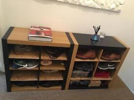 Ikea shelf converted into shoe shelfs