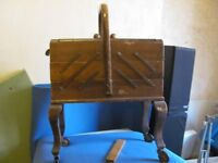 Vintage Oak Cantilever Sewing Box. 3 Tier, Six Drawer on Wheels