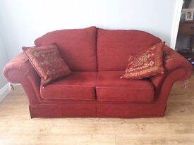 3 seater suite with 2 Queen Ann chairs