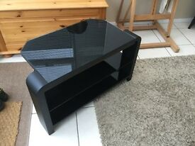 Tv stand unit Glass Black used £15