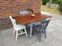 Vintage oak draw leaf dining table + 4 farmhouse chairs. Rustic shabby chic. LOCAL DELIVERY