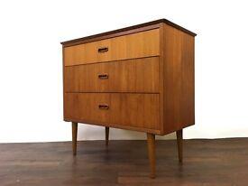 Retro Teak Chest of Drawers Vintage Mid Century Dresser Storage
