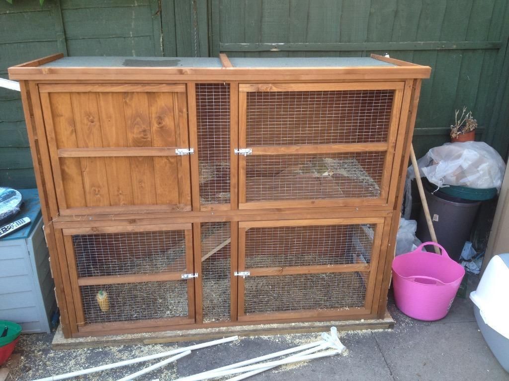 Large rabbit guinea pig outdoor hutch in walsall west for Outdoor guinea pig hutch