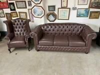 Superb brown chesterfield wingback chair and sofa UK delivery