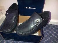 Mens/Boys Black Leather Ben Sherman shoes - Size 5 - £10