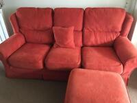 3 seater sofa, reclining chair and footstool