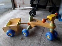 CHILD' WOODEN TRIKE AND TRAILER IN GOOD CONDITION