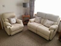 2x Cream Leather Two Seaters + Chair & Footstool, All Recliners