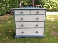 Hand Painted Solid Antique Shabby Chic Pine Chest of Drawers
