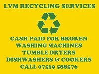 Cash paid for broken washing machines, tumble dryers, cookers & dishwashers