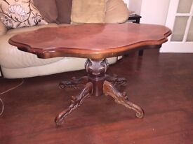 Beautiful Retro Oval Solid Oak Carved Table