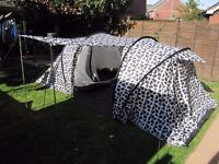 Two room tent in white and black