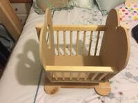 Baby doll rocking cradle