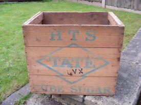 Genuine Vintage London Tate & Lyle British Sugar Crate Trug Storage Wooden Box