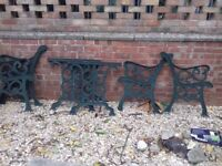 2 pairs cast iron bench ends plus table ends